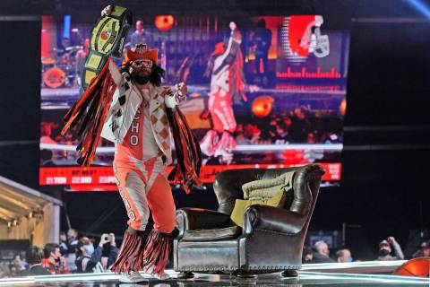 """Cleveland Browns fan """"Macho Man"""" dances on stage as the Browns are on the clock in the second r ..."""