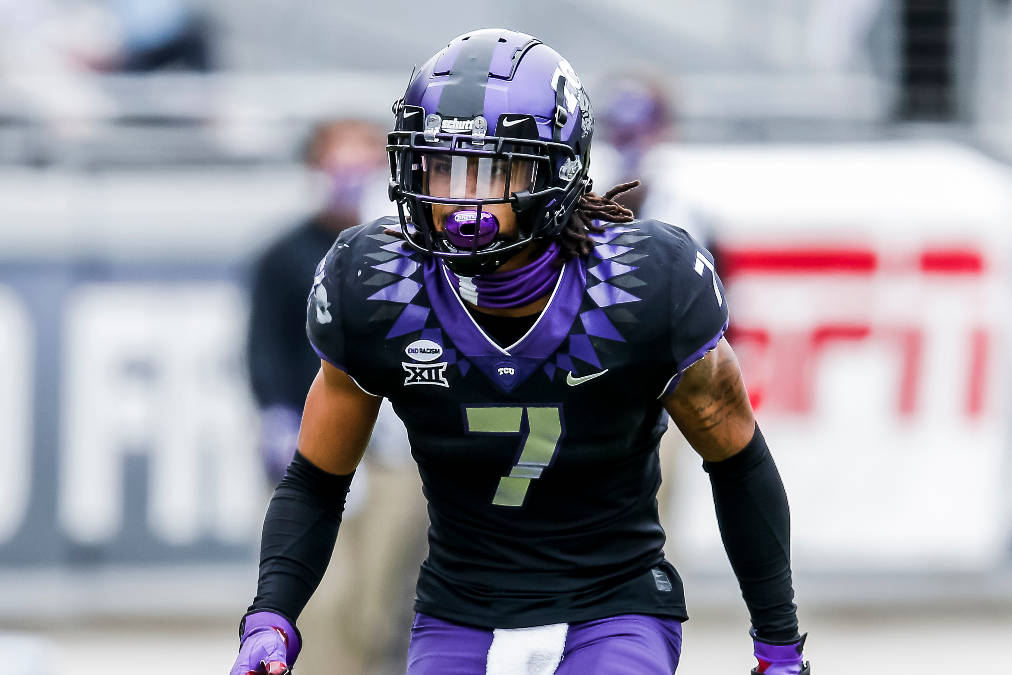 TCU safety Trevon Moehrig (7) defends during an NCAA college football game against Oklahoma, Sa ...