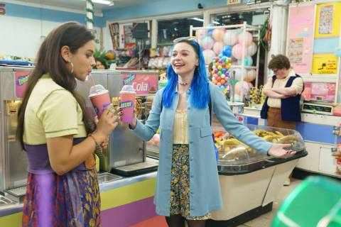 "Odeya Rush, left, and Jessica Barden in a scene from MTV Entertainment Studios' ""Pink Skies A ..."