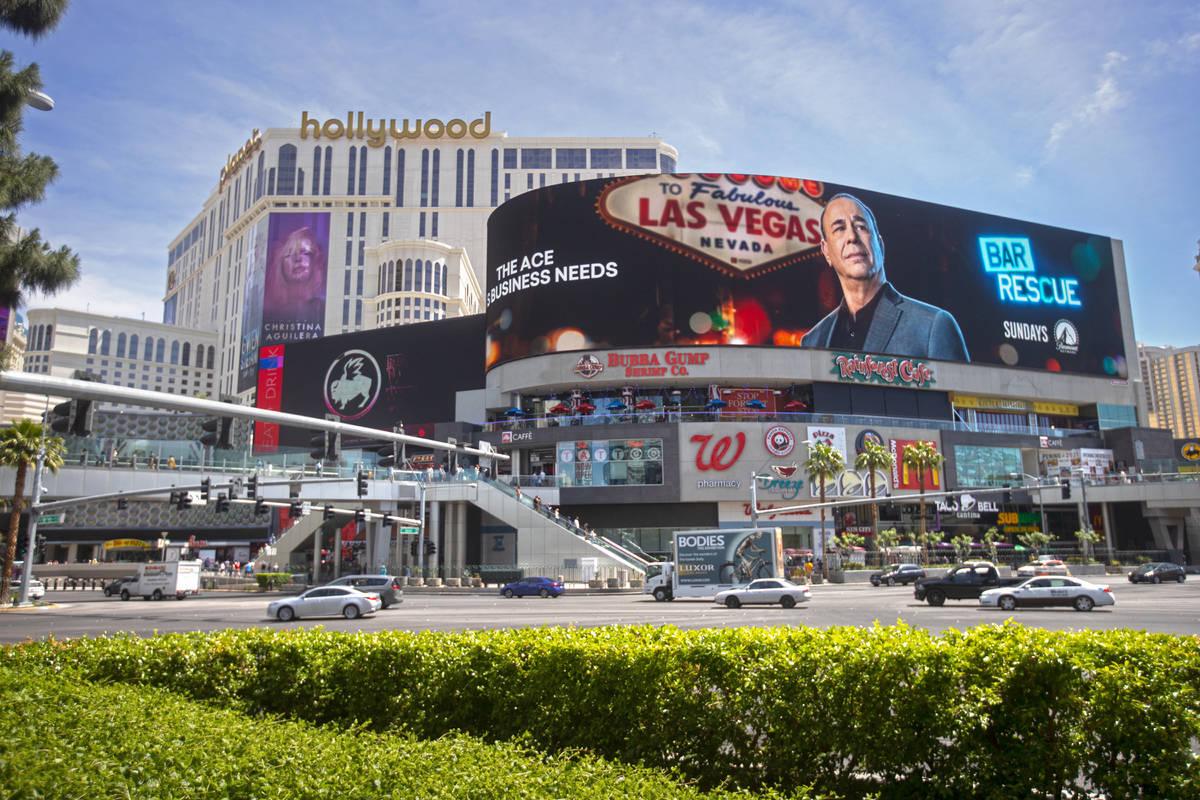 Harmon Corner on the Strip on Friday, April 30, 2021, in Las Vegas. (Benjamin Hager/Las Vegas R ...
