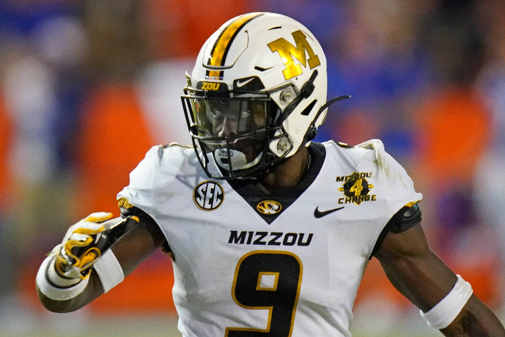 Missouri safety Tyree Gillespie looks to cover a play against Florida during the first half of ...