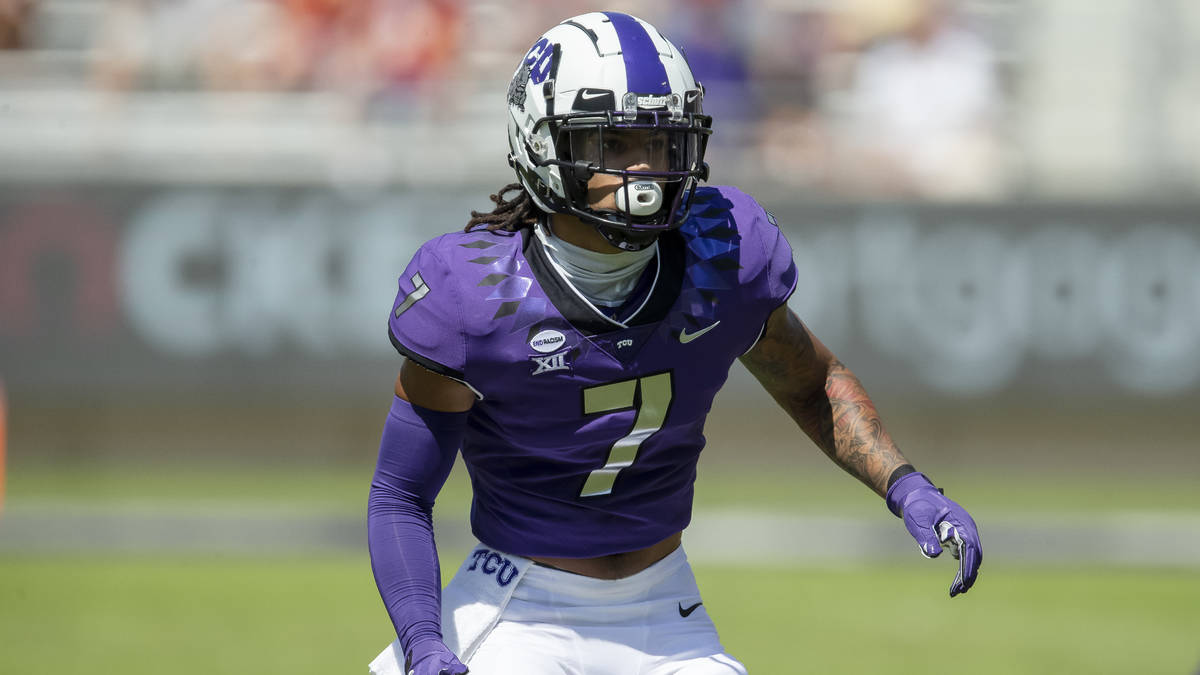 TCU safety Trevon Moehrig (7) defends during an NCAA football game against Iowa State on Saturd ...