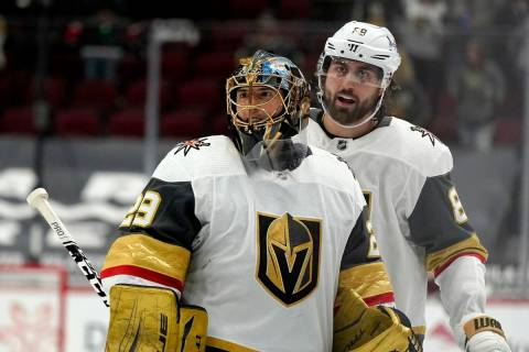 Vegas Golden Knights goaltender Marc-Andre Fleury (29) smiles as he celebrates a win against th ...