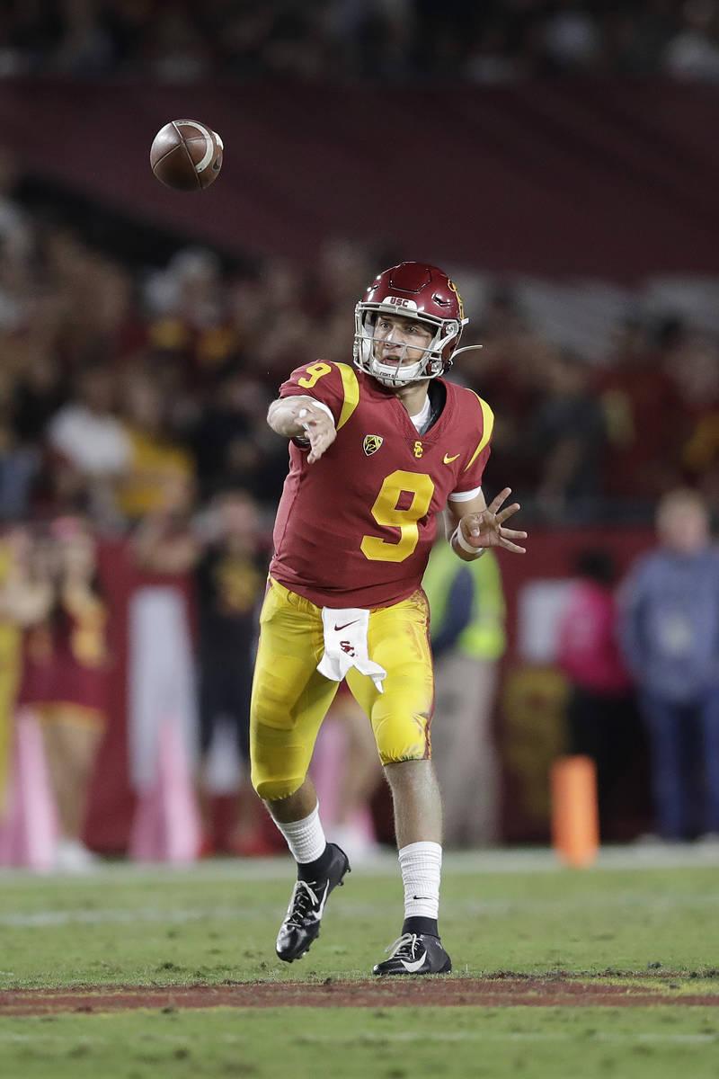 Southern California quarterback Kedon Slovis (9) throws against Arizona during the first half o ...
