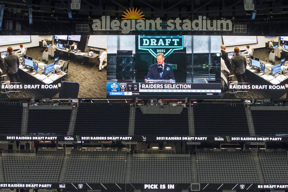 NFL Commissioner Roger Goodell announces the teamÕs first pick during the 2021 Las Vegas R ...