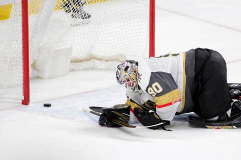 Vegas Golden Knights goaltender Robin Lehner reacts after a goal was scored by Minnesota Wild l ...