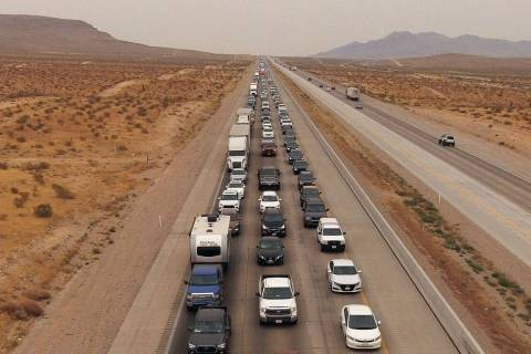 Southbound Interstate-15 traffic builds at mile mark 5 north Primm on Monday, Sept. 7, 2020. (B ...