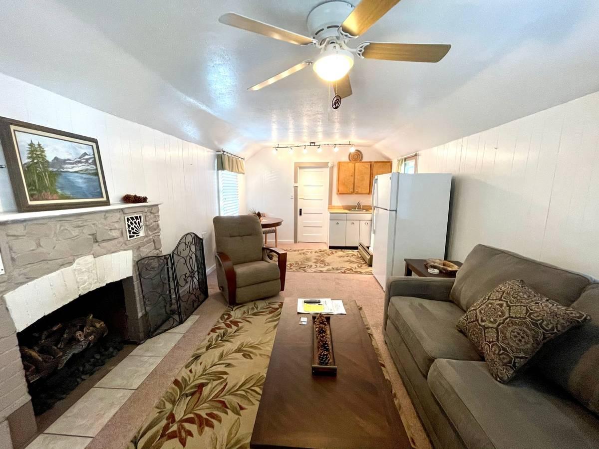 The living room of 4620 Aspen Avenue. (Katie Corr)