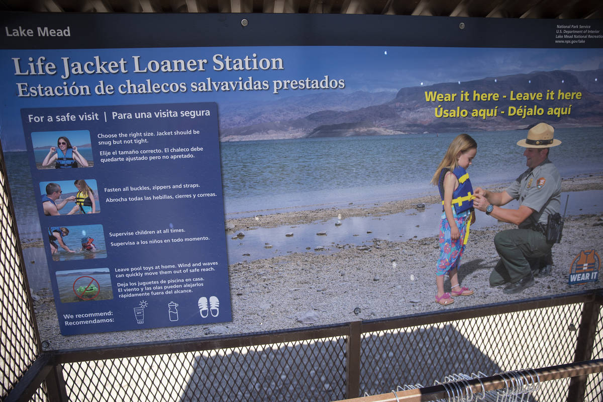 A life jacket station at Boulder Beach in Boulder City on Wednesday, May 5, 2021. (Erik Verduzc ...