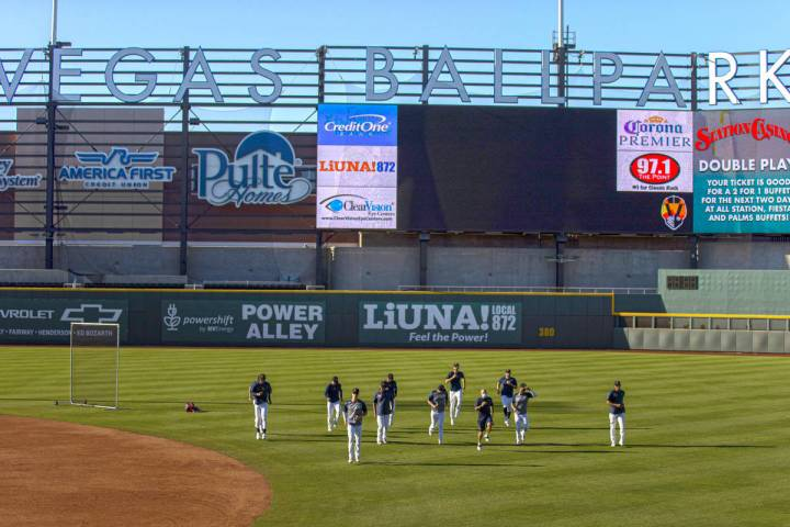 Aviators players warm up before the start of practice at Las Vegas Ballpark on Tuesday, May 4, ...