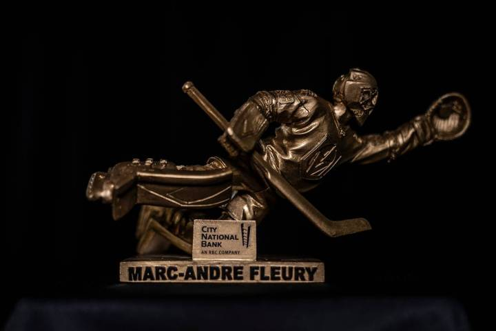 The Golden Knights are giving away gold figurines to memorialize Marc-Andre Fleury's diving s ...
