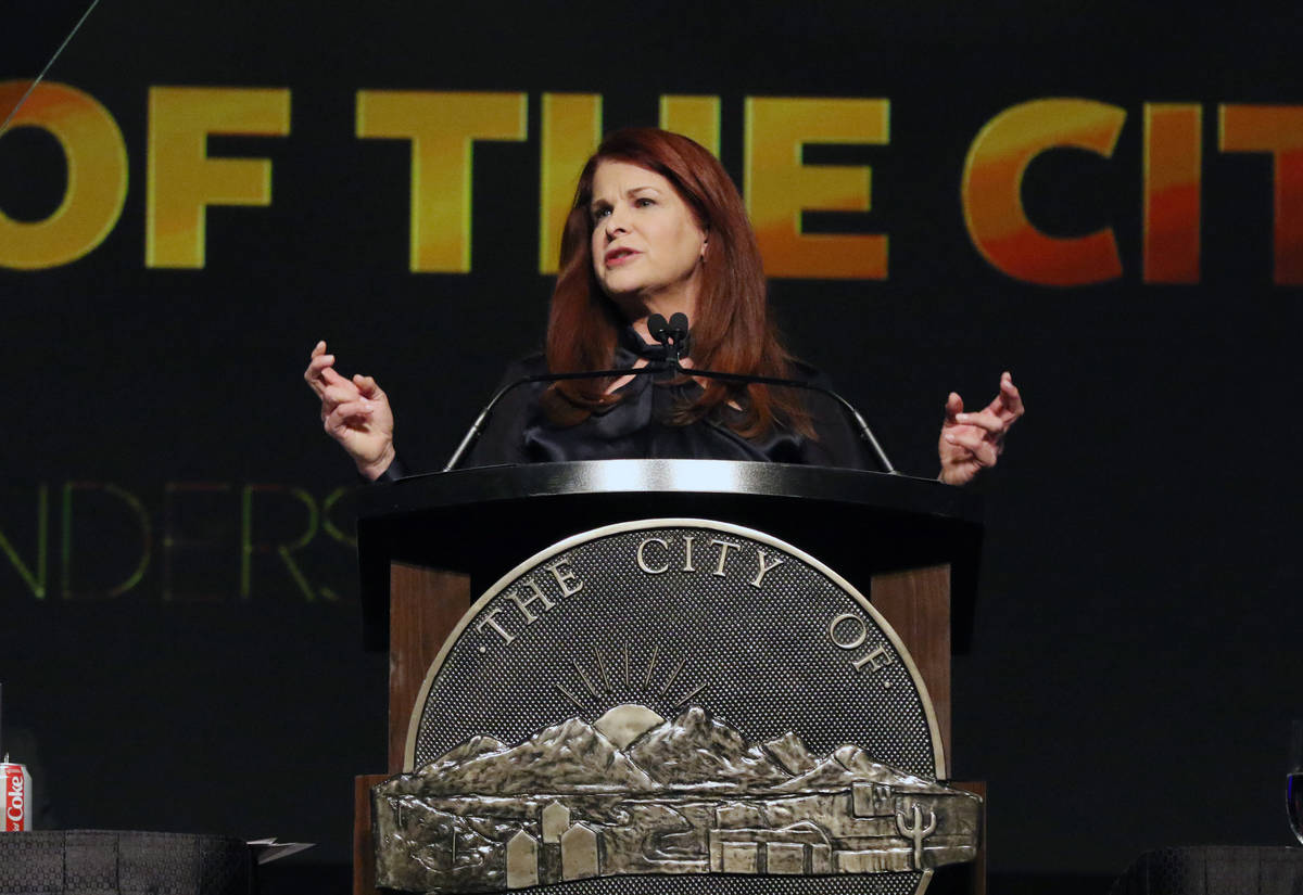 Henderson Mayor Debra March gives her annual State of the City Address on Thursday, Feb. 13, 20 ...