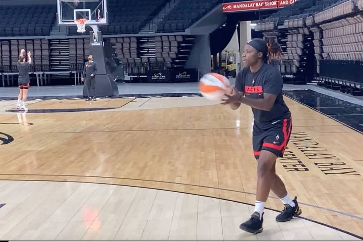 This screenshot from a video provided by the Las Vegas Aces shows Shakayla Thomas. (Las Vegas Aces)