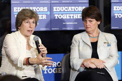 Randi Weingarten, president of American Federation of Teachers, left, and Anne Holton, wife of ...