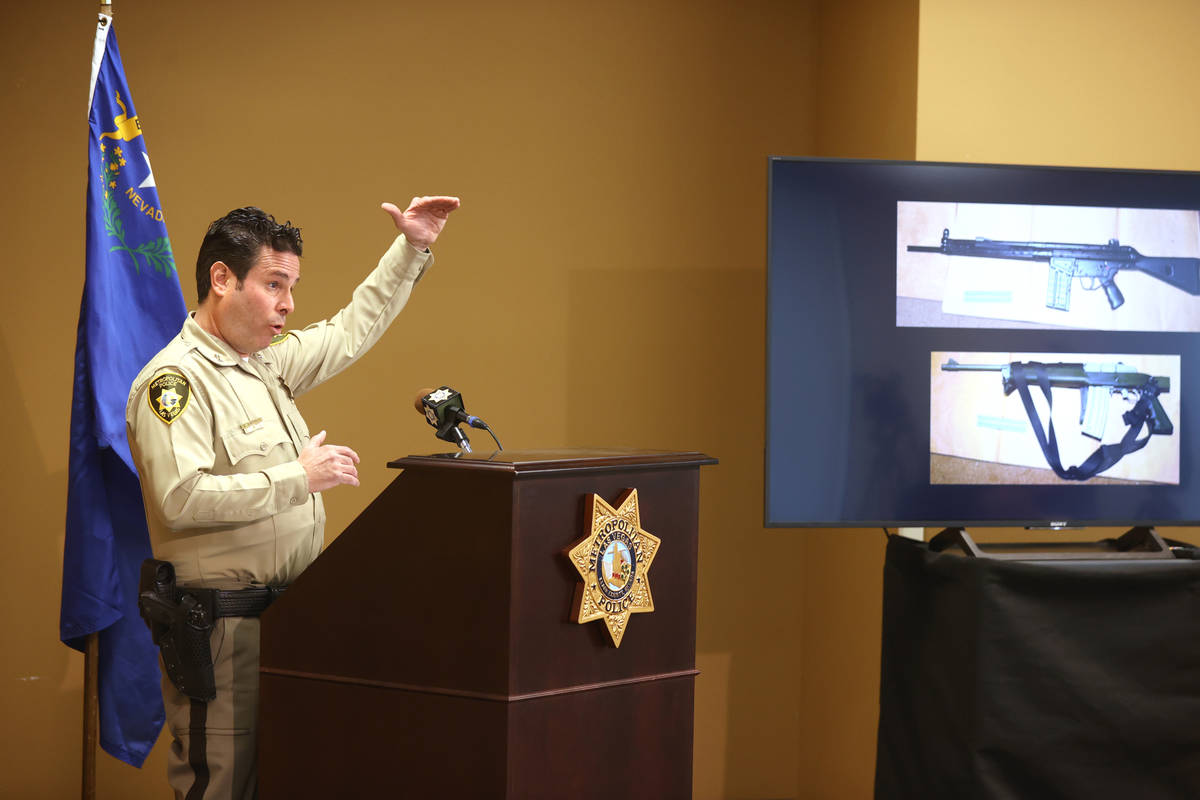 Metropolitan Police Department Assistant Sheriff Brett Zimmerman shows weapons at Metro headqua ...