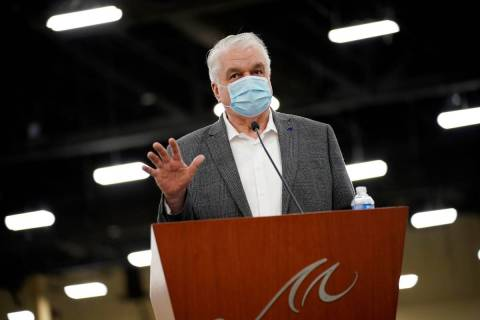 Nevada Governor Steve Sisolak speaks during a news conference about the state's response to cor ...