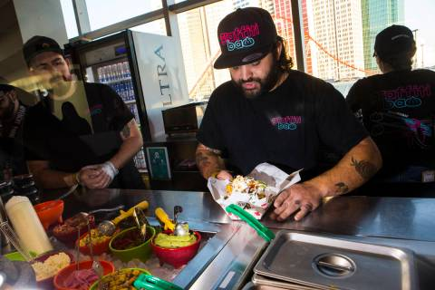 Graffiti Bao and Pina Nachos owner and chef Marc Marrone, pictured here at a Golden Knights gam ...