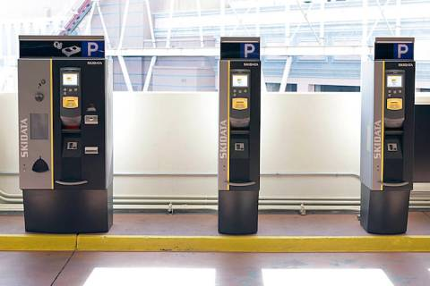 Automatic parking machines at New York-New York hotel-casino's parking garage are shown on Tues ...