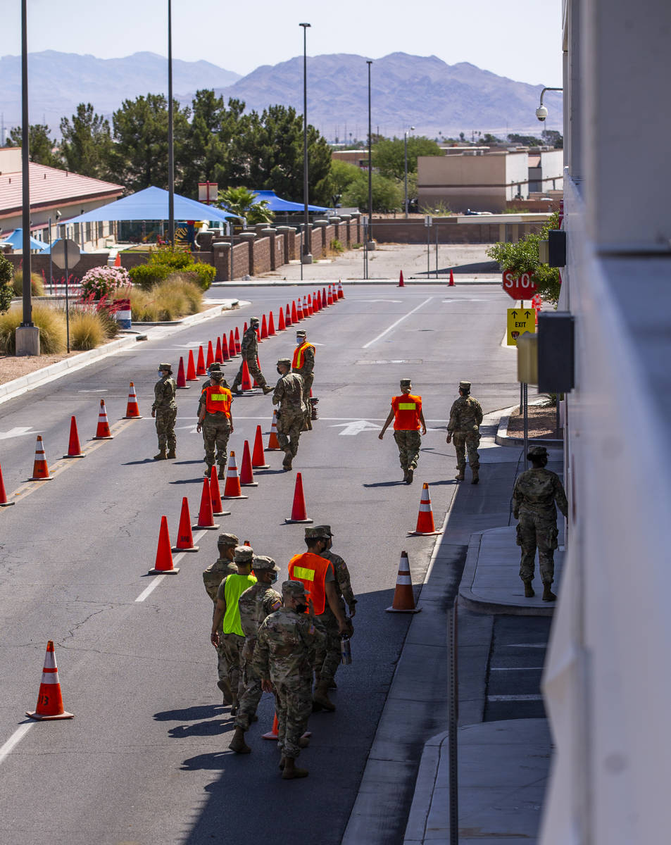 Nevada National Guard troops begin to set up as the Southern Nevada Health District and Clark C ...
