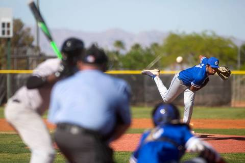 Bishop Gorman's pitcher Tyler Avery (31) throws to Palo Verde during a high school baseball gam ...