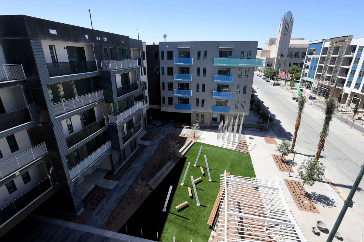 The view from a penthouse at Parc Haven apartment complex at Symphony Park in downtown Las Vega ...
