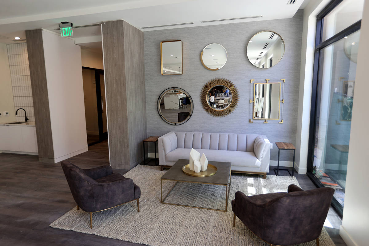 A sitting area in the resident lounge at Parc Haven apartment complex at Symphony Park in downt ...