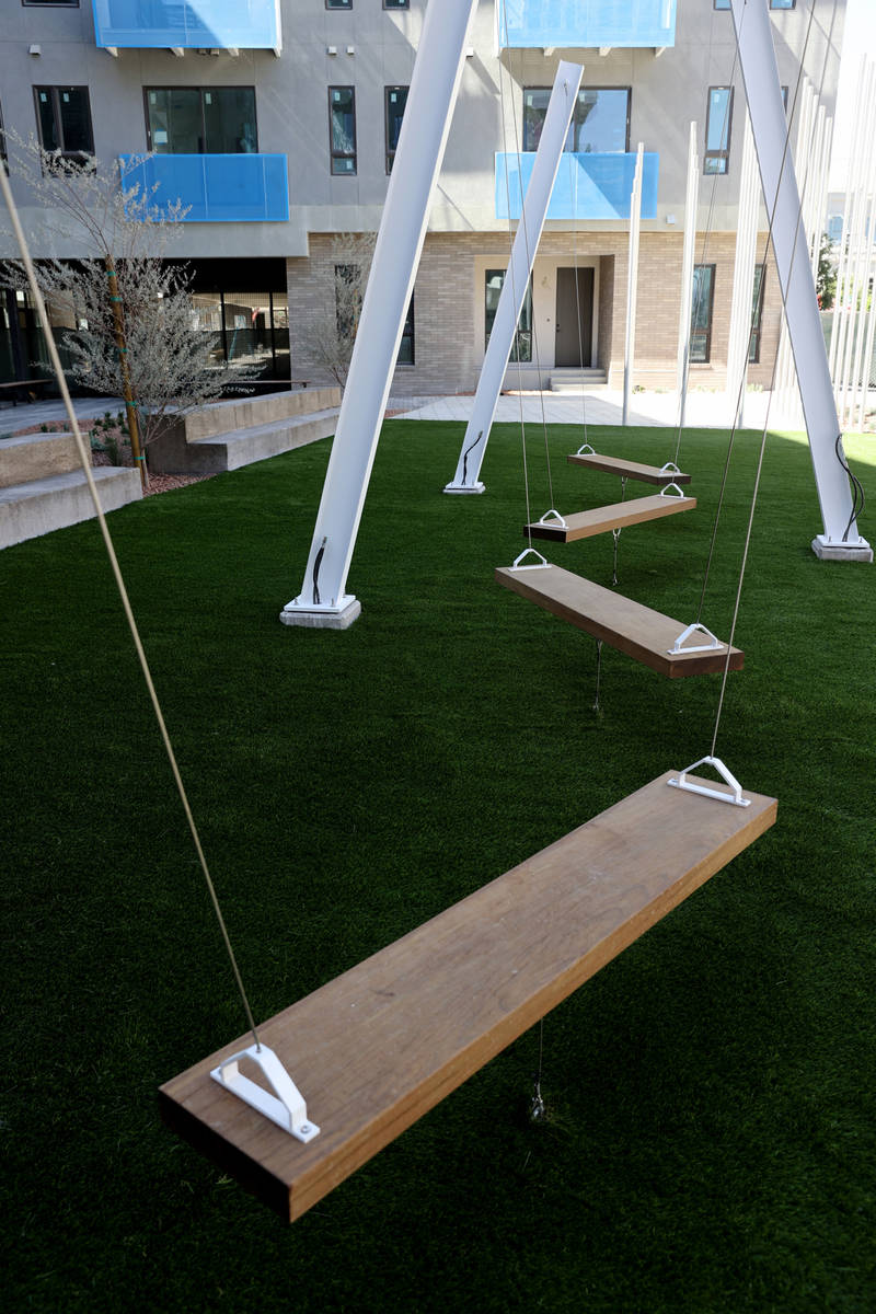 The front courtyard at Parc Haven apartment complex at Symphony Park in downtown Las Vegas Tues ...
