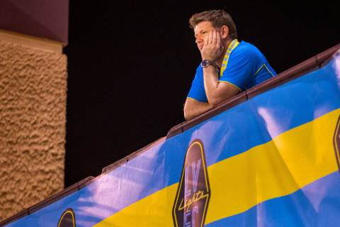 Las Vegas Lights FC Owner/CEO Brett Lashbrook takes in the match versus Portland Timbers 2 from ...