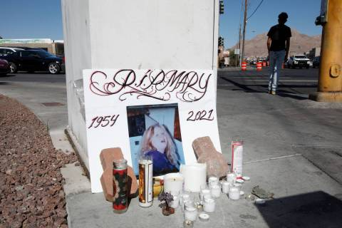 A makeshift memorial is seen at the intersection of North Nellis Boulevard and East Lake Mead P ...