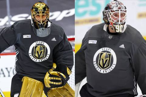 This combination photo shows Golden Knights goaltenders Marc-Andre Fleury and Robin Lehner. (La ...