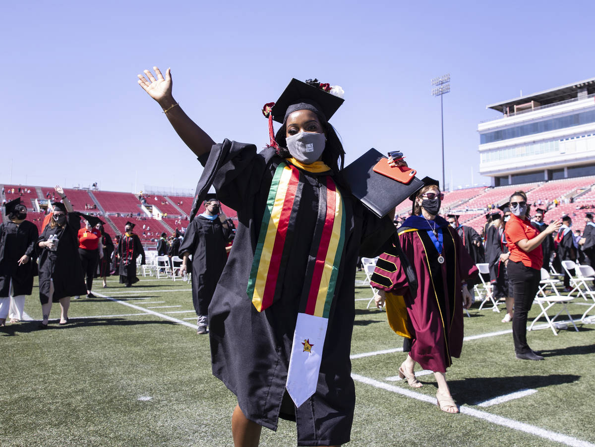 Mufaro Hungwe reacts after receiving her master's in biomechanical engineering during the fir ...