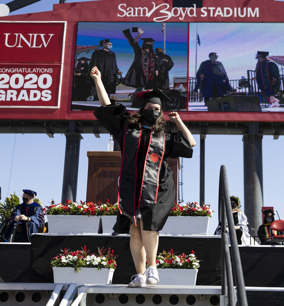 Megan Kelly reacts after receiving her master's in criminal justice during the first of several ...