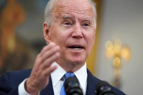 President Joe Biden delivers remarks about the Colonial Pipeline hack, in the Roosevelt Room of ...