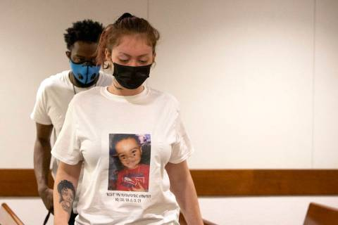 Tayler Nicholson attends a court hearing for her ex-boyfriend, Terrell Rhodes, who is charged w ...