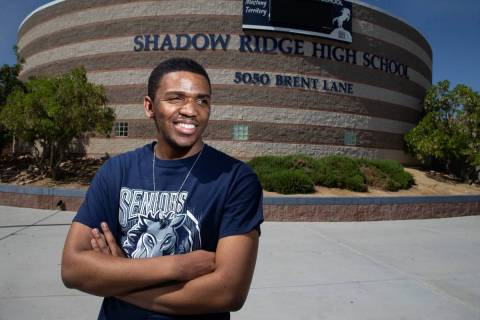 Trelas Dyson, 17, who was accepted to 59 colleges, poses for a portrait at Shadow Ridge High Sc ...