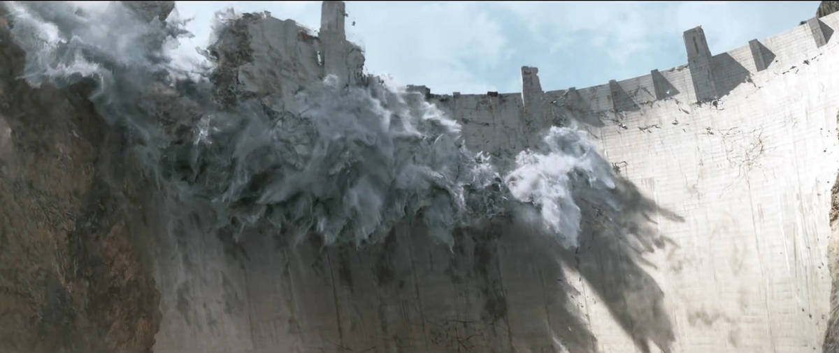 """The Hoover Dam is destroyed in a scene from """"San Andreas."""" (Warner Bros. Pictures)"""
