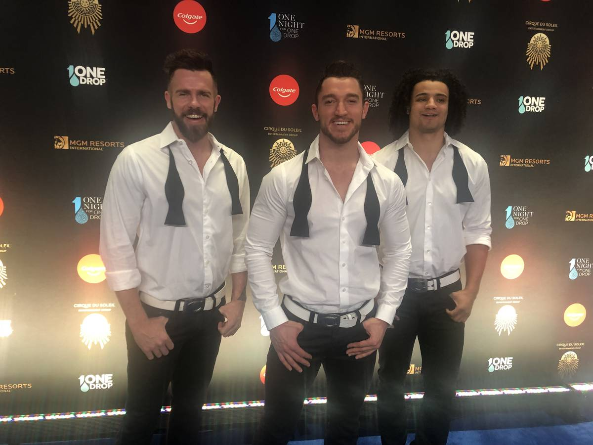 """Members of """"Chippendales"""" at the Rio are shown on the Blue Carpet prior to """"One Night For One D ..."""