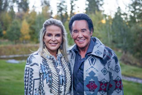 Wayne Newton, right, with his wife Kathleen Newton, left, at their ranch in Rollins, Mont., Tue ...