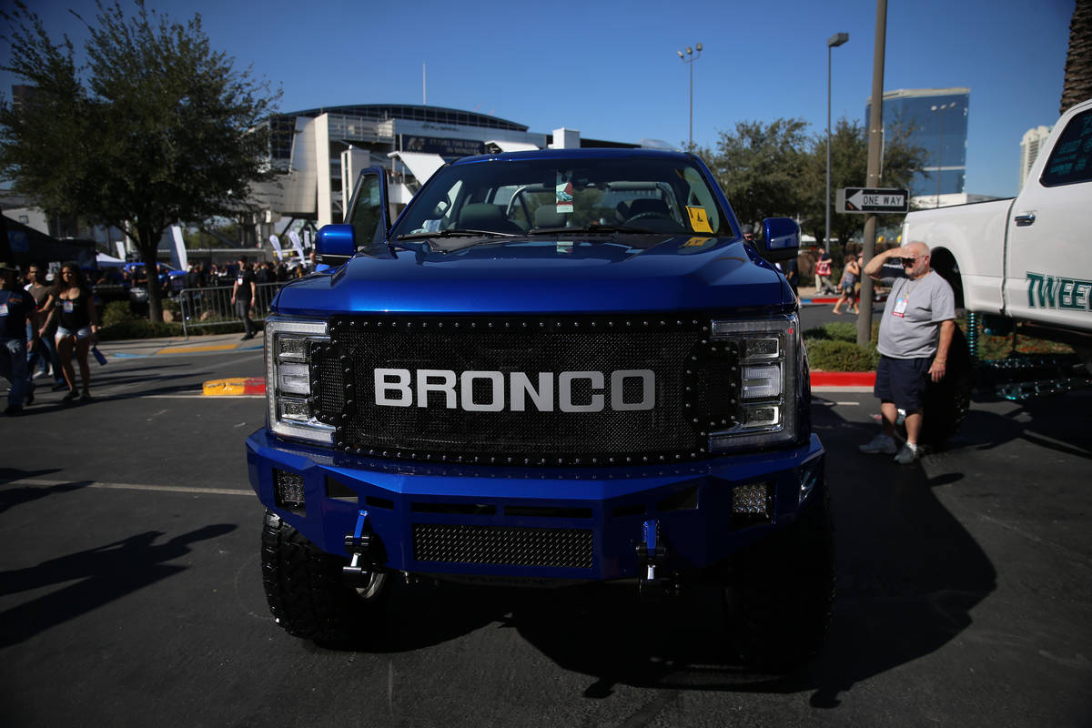 A truck on display at the Las Vegas Convention Center in Las Vegas, Tuesday, Nov. 5, 2019. (Eri ...