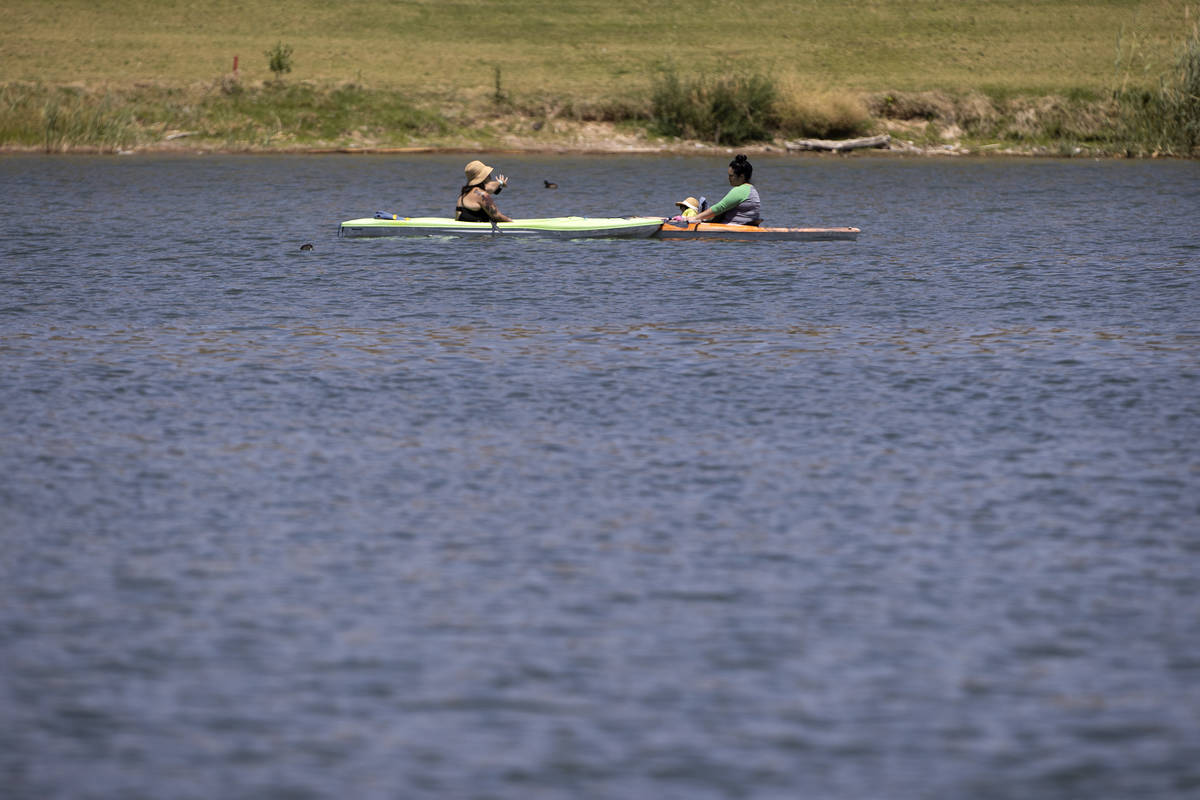 Kayakers take a break at Lake Las Vegas on Saturday, May 15, 2021 in Henderson. Lake Las Vegas ...