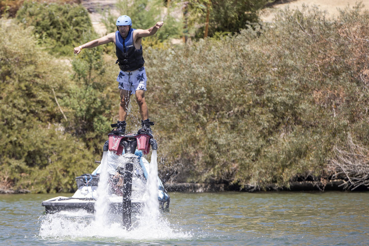 Ali Schempp tries out the Flyboard Experience at Lake Las Vegas on Saturday, May 15, 2021 in He ...