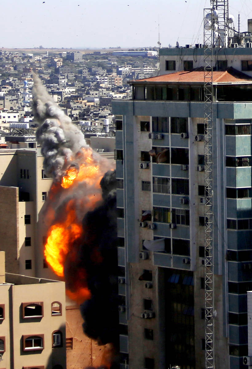 A view of a 11-story building housing AP office and other media in Gaza City is seen as Israeli ...