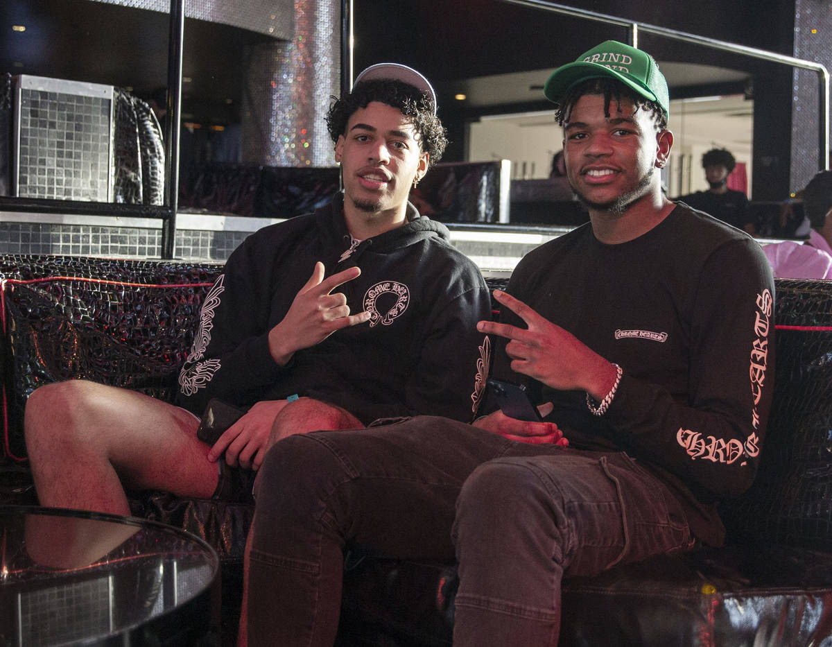 5Jaden Hardy, right, poses at an event to declare he was heading to the NBA G League with Gonza ...