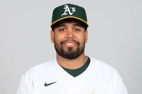 This is a 2021 photo of Francisco Pena of the Oakland Athletics baseball team. This image refle ...