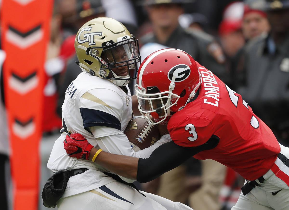 FILE - In this Saturday, Nov. 24, 2018 file photo, Georgia Tech quarterback James Graham (4) i ...