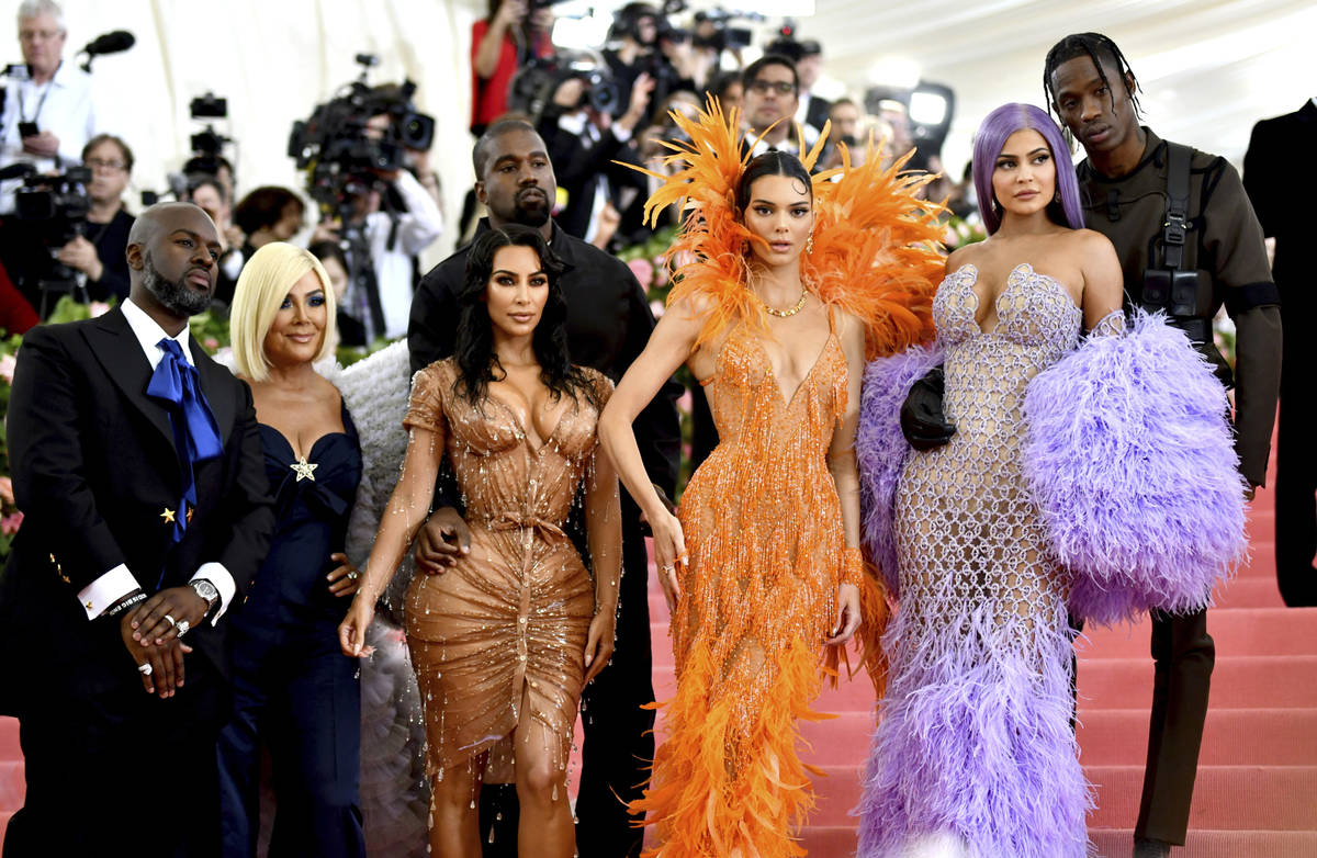 Corey Gamble, from left, Kris Jenner, Kim Kardashian, Kendall Jenner, Kylie Jenner and Travis S ...