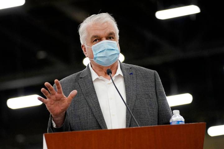 In this April 29, 2021, file photo, Nevada Gov. Steve Sisolak speaks during a news conference i ...