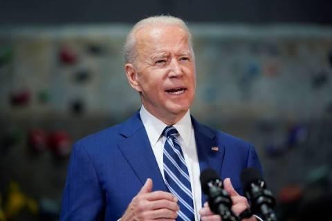 President Joe Biden speaks at Sportrock Climbing Centers, Friday, May 28, 2021, in Alexandria, ...
