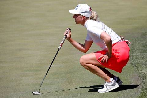 Sophia Popov of Germany lines up a putt on the second green during the third round of the Bank ...
