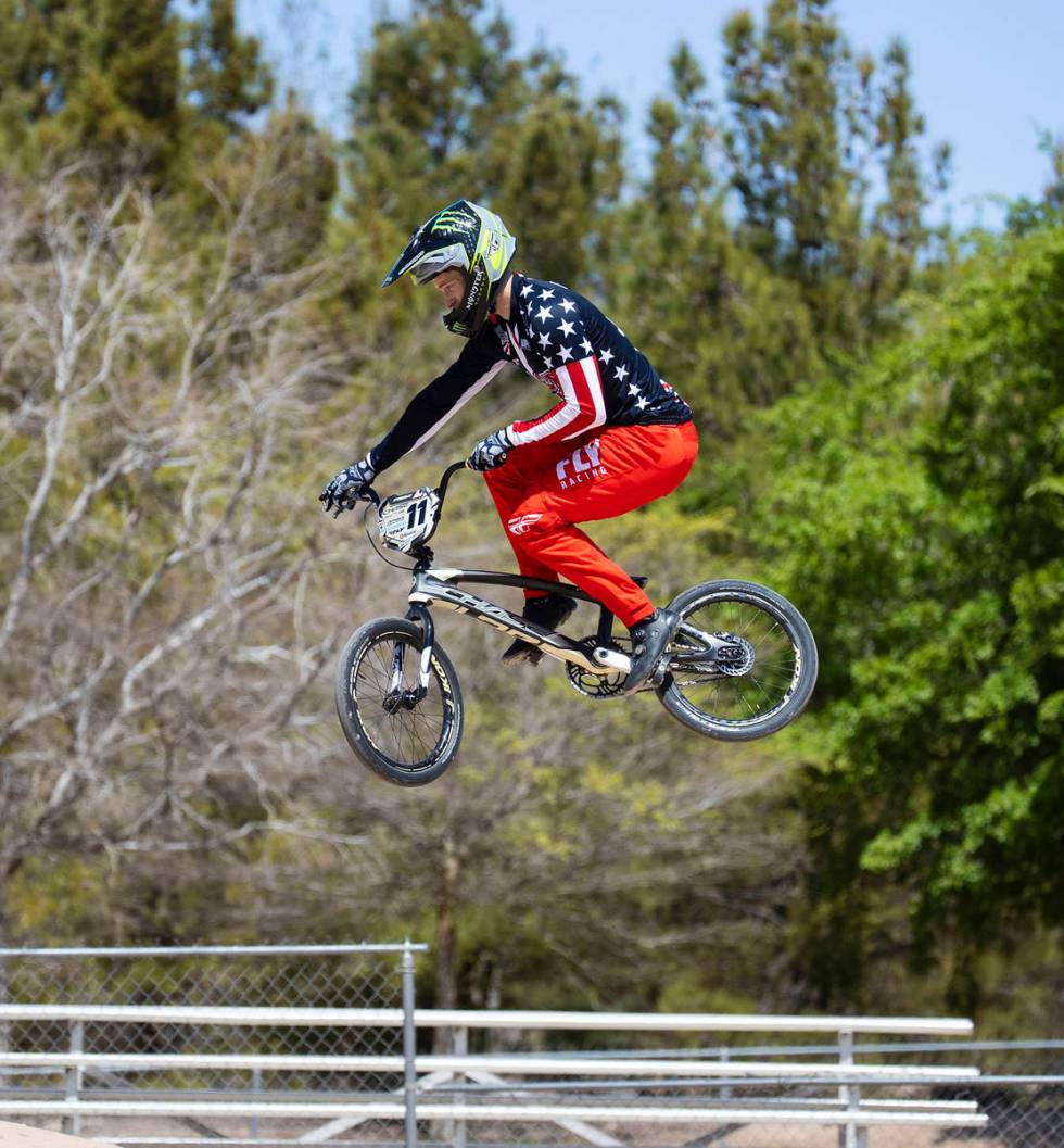 Connor Fields, professional BMX racer, trains at Boulder City BMX track, on Tuesday, March. 30, ...